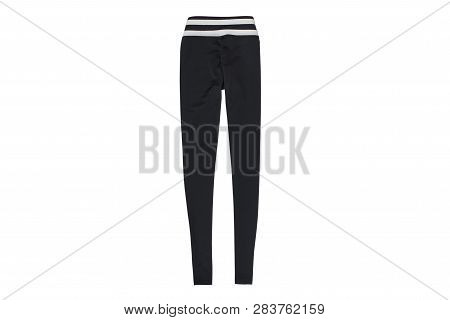 Black Gym Leggings Flat Lay. Fashion Concept. Isolate On White Background