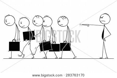 Cartoon Stick Figure Conceptual Drawing Of Group Of Sad Or Depressed Businessmen Or Employees Fired