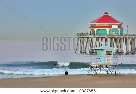 Huntington Beach Pier And Surfer At Dawn