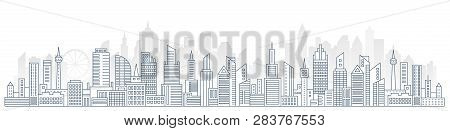 Flat Line Urban Cityscape Panorama. Real Estate And City Construction Outline Header Concept With Mo