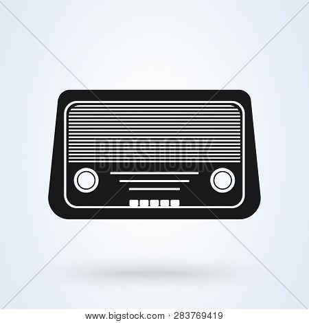 Radio Icon Vector, Old Retro Receiver Waves, Tuner Sign Isolated On White Background