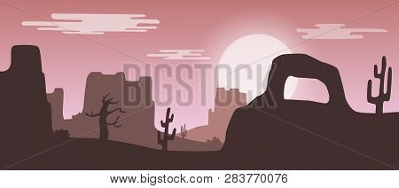Beautiful Widescreen Pink Sunset Desert Landscape With Sandstone Mountains And Cactus Plants.