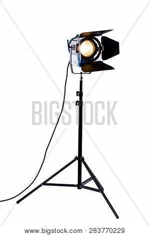 Studio Lighting Isolated On White Background. Modern Powerful Photographic Flash At Photo Studio. Pr