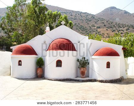 Small Church In Elounda On The Island Of Crete. Greece