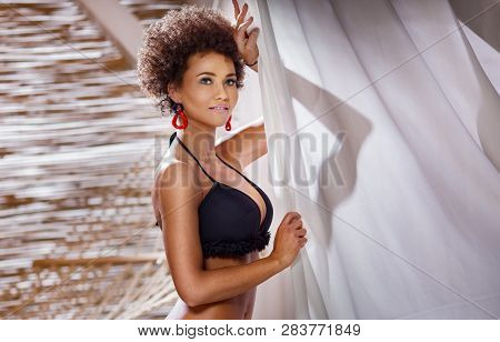 Beauty Portrait Of Natural Girl With Afro