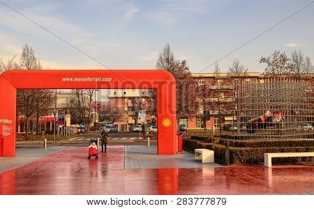 Maranello, Italy, Entry Of The Ferrari Museum, A Formula One Single-seater Is Displayed