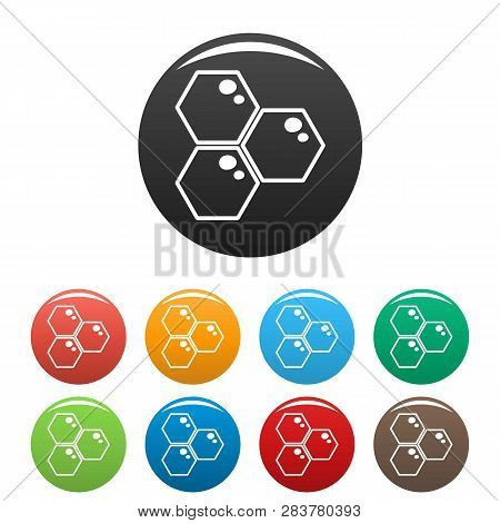 Honey Comb Icons Set 9 Color Vector Isolated On White For Any Design