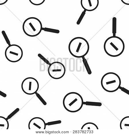 Loupe With Minus Sign Seamless Pattern Background. Business Flat Vector Illustration. Magnifier Sear
