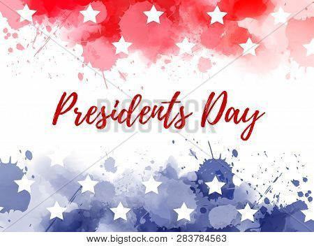 Usa Presidents Day Background. Abstract Background With Paint Splashes In Usa Flag Colors. Template