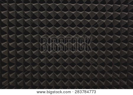 Strong Protection From Loud Music. Close Up View Of A Grey Soundproof Coverage For A Recording Studi