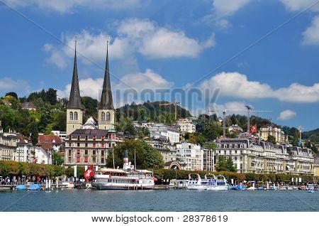 Luzern (lucerne Or Lucerna) And Hofkirche Church