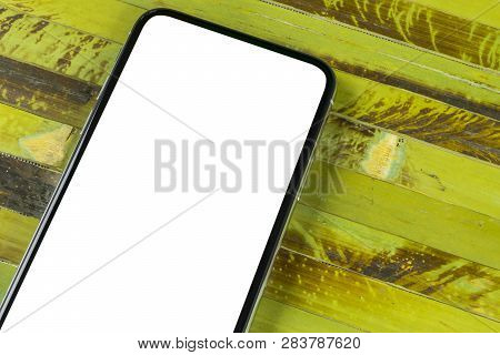 Smartphone With Blank Screen Mock Up. Smartphone Isolated Screen. Mobile Phone White Screen With Cop