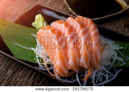 Salmon Sashimi Japanese Style Cut.