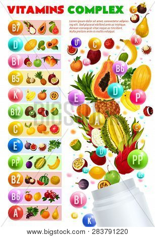 Vitamins And Minerals Complex, Vegetarian Food. Vector Natural Fruits And Berries Organized By Conte