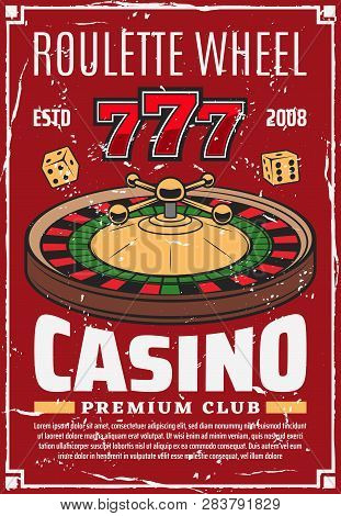 Casino Roulette Wheel And Gambling Dice, Retro Vector Lucky Numbers. Money Stakes And Risk In Game O
