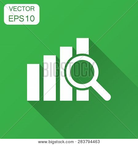 Financial Forecast Icon In Flat Style. Business Analysis Illustration With Long Shadow. Analytics Fi
