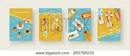 Sea, Beach, Summertime. People Men And Women Sunbathe On The Beach Under Parasols, Play Beach Volley