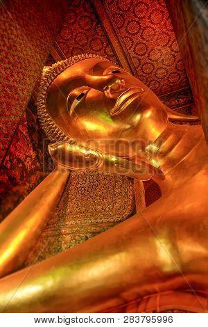 Sleeping Buddha Statue At Bangkok Thailand.