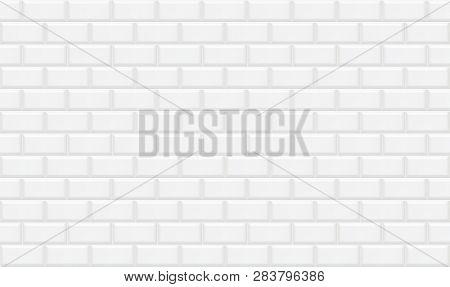 White Rectangle Mosaic Tiles Texture  Background. White Metro Tile. Horizontal Picture.