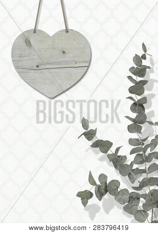 Blank Weathered Wooden Heart On Wall With Moroccan Print Wallpaper, With Eucalyptus Cinerea, Interio