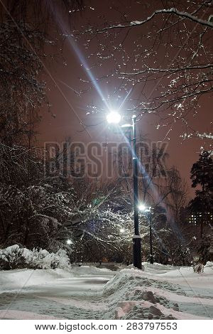 Street Lights And Path In The Snow In Winter Park