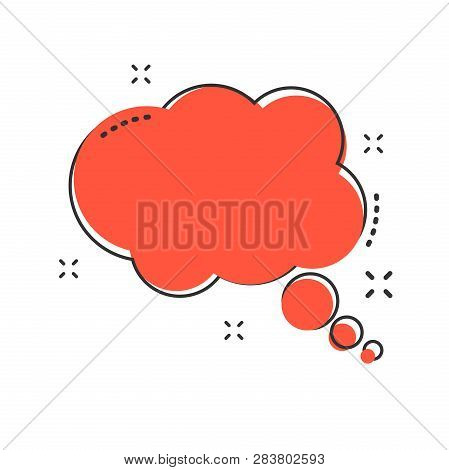 Cartoon Thought Bubble Icon In Comic Style. Think Bubble Sign Illustration Pictogram. Cloud Splash B