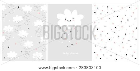Cute Simple Baby Shower Vector Card And 2 Patterns.white Fluffy Smiling Cloud On A Light Gray Backgr