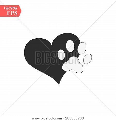 Vector Of A Animal Pawprint In A Black Heart On White Background To Be Uses As A Logo Or Illustratio