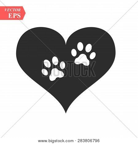 Vector Of A White Animal Pawprint In A Black Heart On White Background To Be Uses As A Logo Or Illus