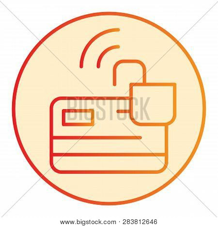 Unlocked Credit Card Flat Icon. Plastic Card With Opened Lock Orange Icons In Trendy Flat Style. Ele