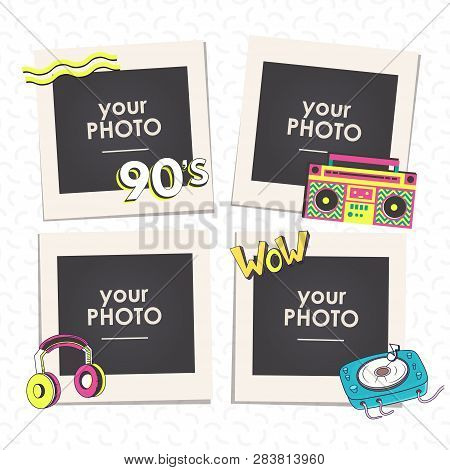 Cartoon Art Styles. Template Frames Back To 90 Vector Illustration. This Photo Frame You Can Use For