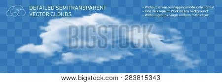 Fountain Clouds. Realistic Transparent Vector Illustration. Light Decoration For Pattern. Detailed N