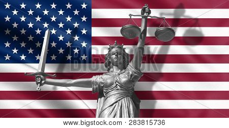 Cover About Law. Statue Of God Of Justice Themis With Flag Of Usa Background. Original Statue Of Jus