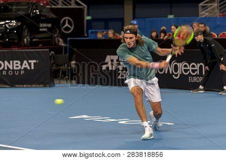 Sofia - February 07.2019: Stefanos Tsitsipas(gre) Plays At The Atp Sofia Open Tournament In Sofia, B