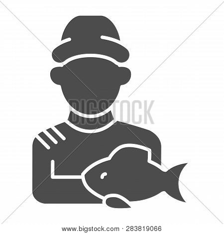 Fisherman With Fish Solid Icon. Fisher And The Catch Vector Illustration Isolated On White. Angler G