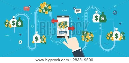 Banking Transfer, Transaction Financial And Money. Businessman Hand Clicking On Transfer Button In S