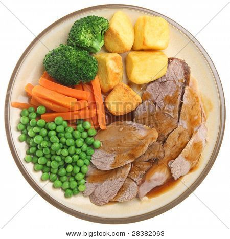 Traditional Sunday roast lamb dinner