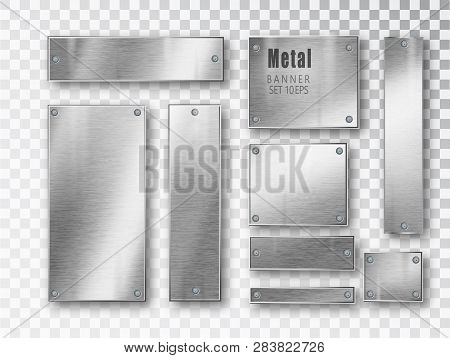 Metal Banners Set Realistic. Vector Metal Brushed Plates With A Place For Inscriptions Isolated On T