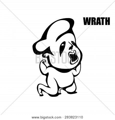 Wrath. Hand Drawn Vector Monochrome Outline Cartoon Character Illustration With White Background