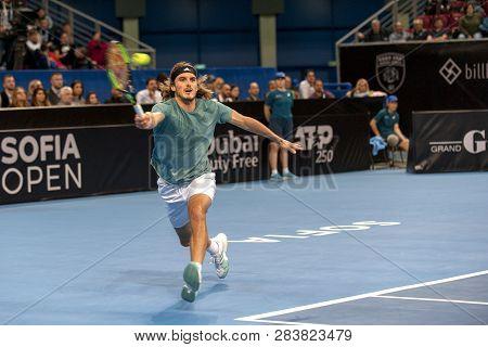 Sofia - February 08.2019: Stefanos Tsitsipas(gre) Plays At The Atp Sofia Open Tournament In Sofia, B