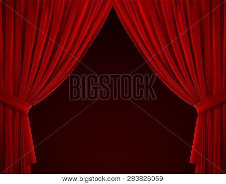 Red Curtain Background. Realistic Vector Illustration. Textile Drapes. Folded Velvet Fabric. Decorat