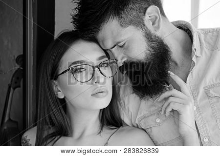Fashion Is About A Look. Sensual Woman And Bearded Man In Love Relations. Fashion Models. Girlfriend