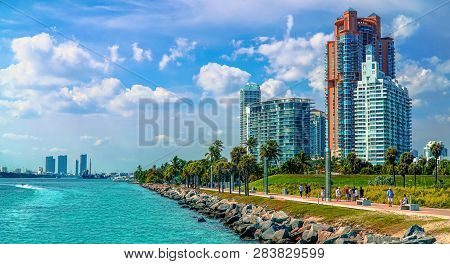 Miami Beach, Usa - June 24, 2017: Panoramic View Of Fisher Island And The Port Of Miami From South P