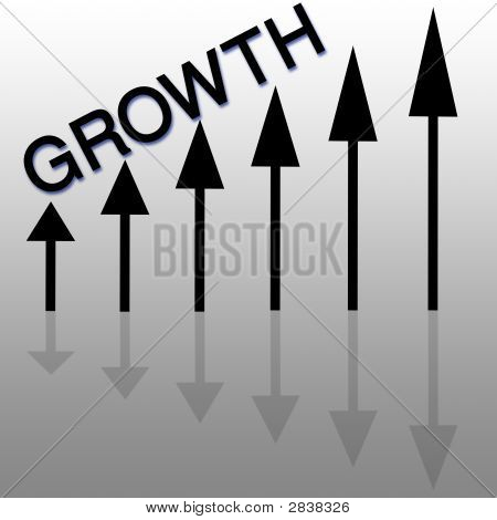 illustration showing arrows and the word growth going up poster