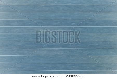 Blue Wooden Wall With Horizontal Planks. Close Up Of An Old Wooden Fence Panels