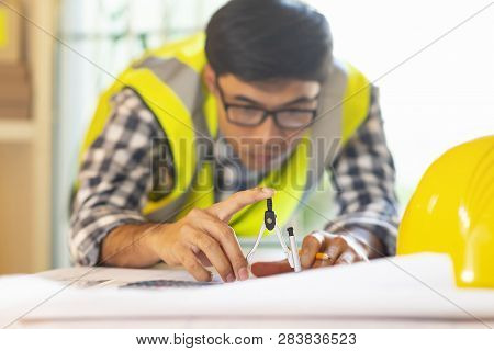 Architect Working On Blueprint.engineer Inspective In Workplace - Architectural Project, Blueprints,