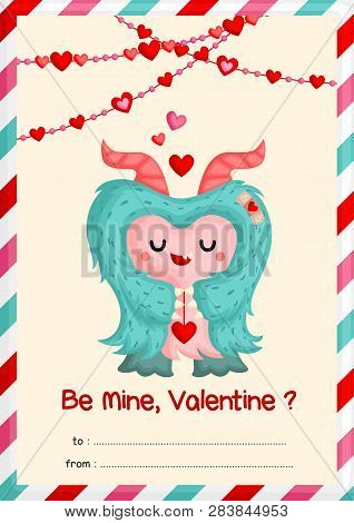 A Card Of Cute Hairy Monster Holding Heart Decoration Happily To Celebrate Valentine Day