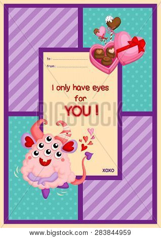 A Card Of Cute Fluffy Pink Monster With Many Eyes Jumping Happily To Celebrate Valentine Day