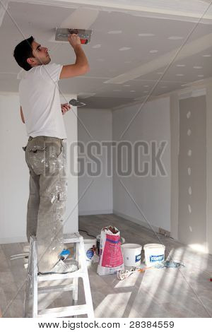 craftsman painting the ceiling poster