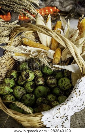 Corn And Pumpkins In A Traditional Basket, Vegetable Detail, Healthy Food